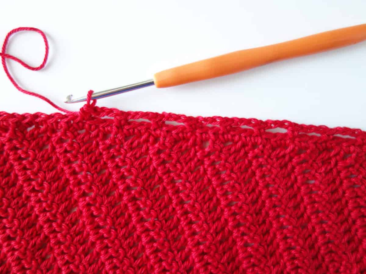 Crochet bandana in process.