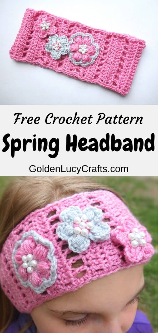 Crochet headband, young girl in pink crochet headband, text saying: free crochet pattern, spring headband.