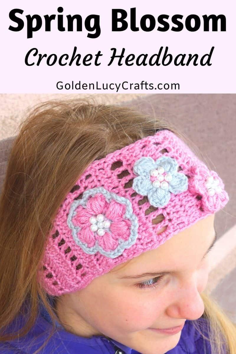Crochet headband, free pattern, easy, spring, summer, for kids, girls, women