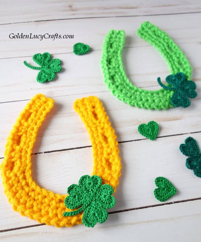 Crochet horseshoe applique, free crochet pattern, St. Patrick's Day, lucky horseshoe, shamrock