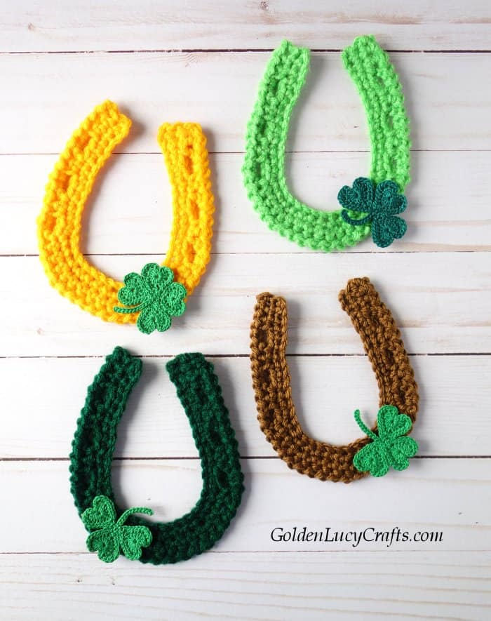 Crochet applique for St. Patrick's Day, horseshoe applique, free crochet pattern, lucky horseshoe, shamrock