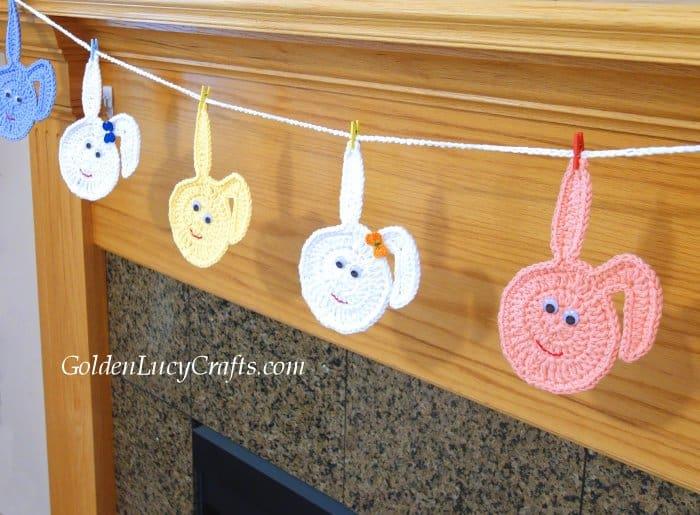 Crochet Easter garland, Easter bunny garland, crochet Easter bunny eggs, DIY Easter decoration, crochet Easter bunting, free crochet pattern