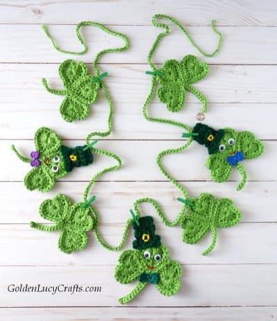St Patrick's Day crochet patterns - shamrock garland diy