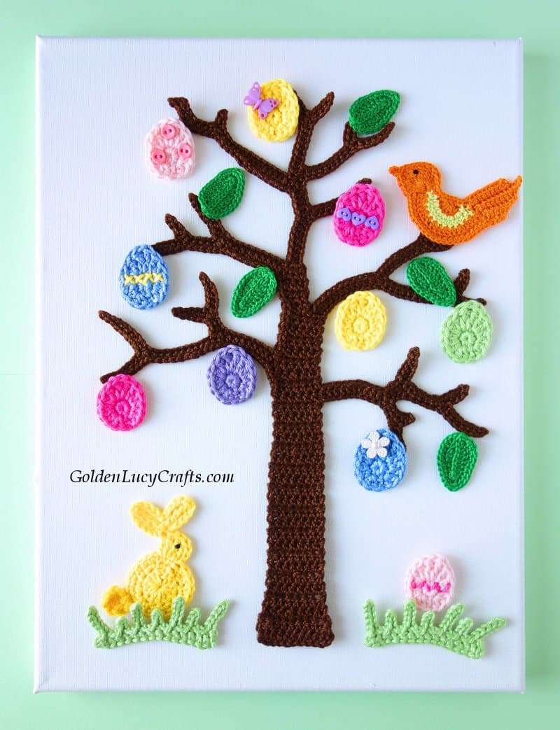 Crochet Easter decor, Easter Tree wall art, crochet applique, Easter home decoration
