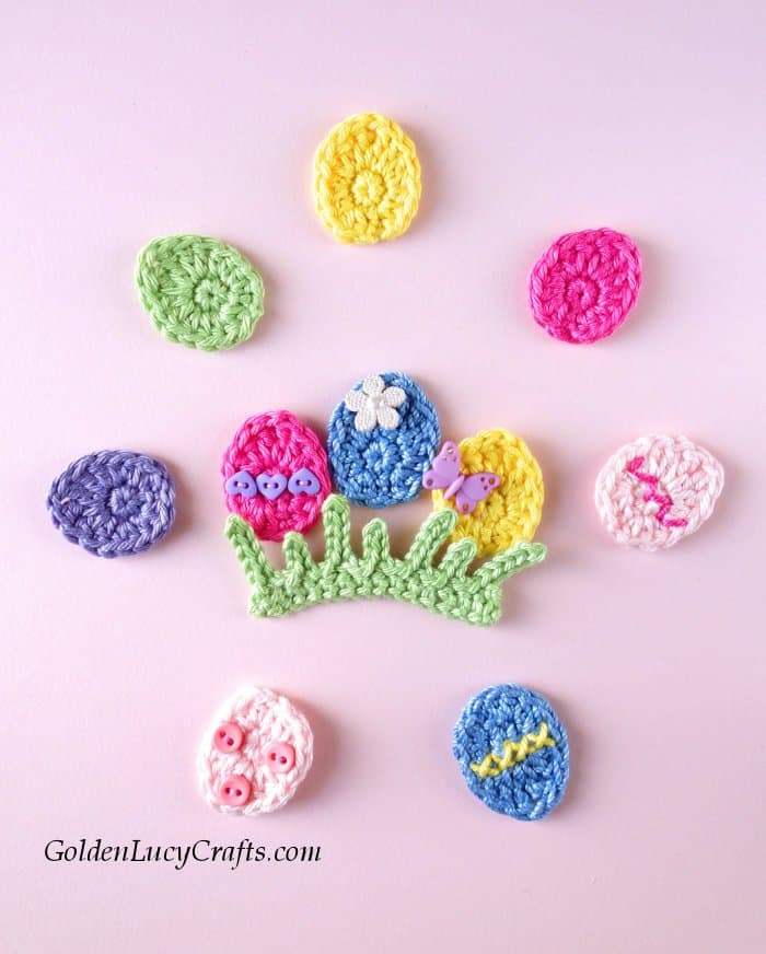 Crochet Easter Egg applique, grass applique, free crochet pattern, easy crochet egg applique