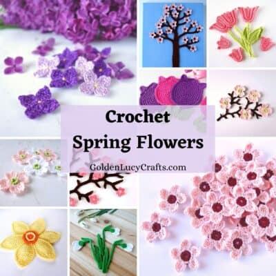 Collage de fotos de flores de primavera de ganchillo.
