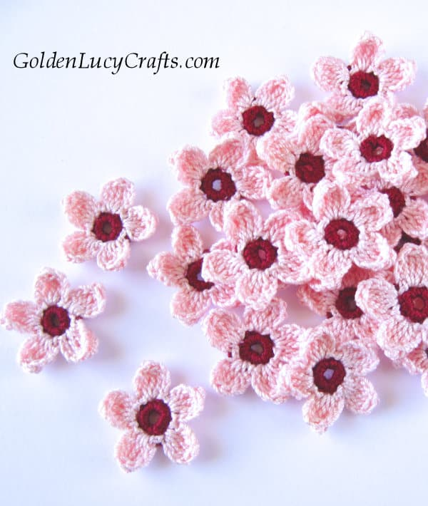 Crocheted cherry blossoms.