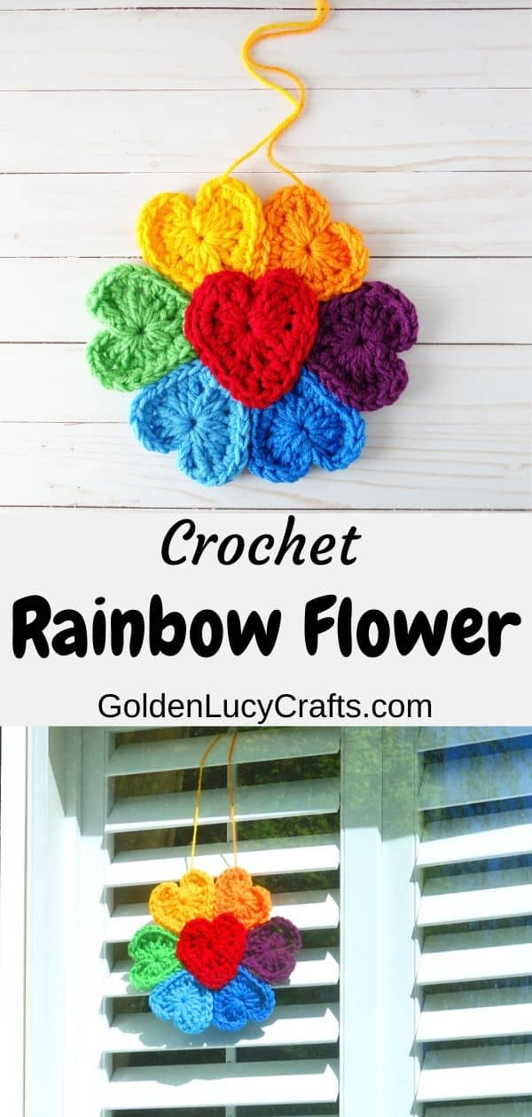 Crochet Rainbow flower for window, flower made from hearts, free pattern