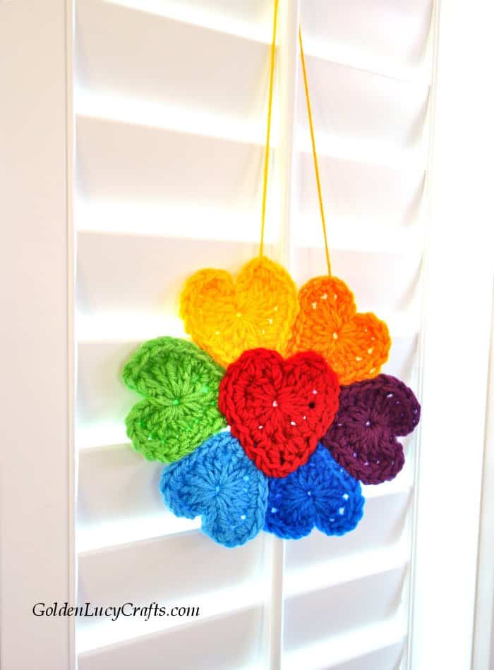 Crochet Rainbow flower for window, rainbow flower of hope, flower made from hearts, free pattern