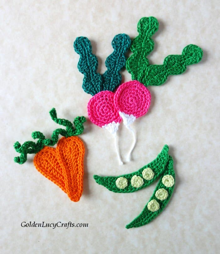 Crochet vegetables, radish, carrot, peas applique, motifs, embellishment, free crochet pattern