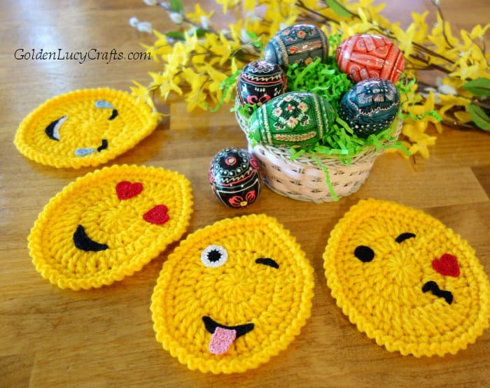 Easter crochet pattern, Easter egg emojis