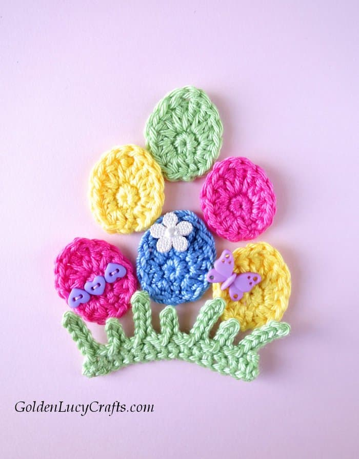 Easter crochet pattern collection, Easter eggs applique