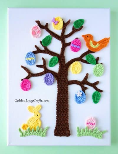 Crochet Easter tree applique.