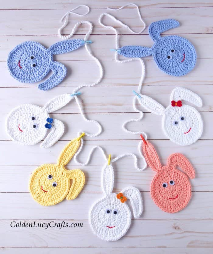 Easter crochet pattern collection, bunny egg garland
