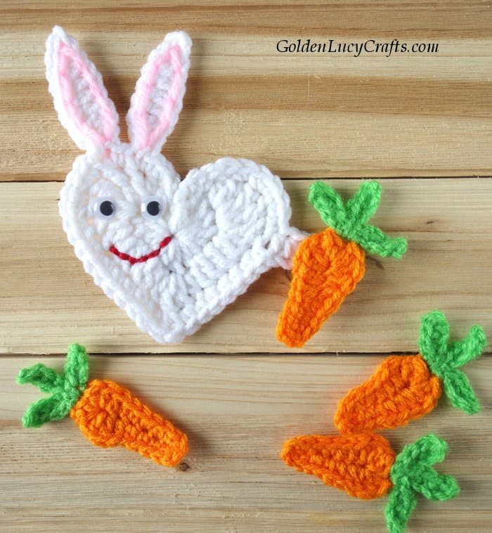Easter crochet pattern collection, heart bunny and carrots applique
