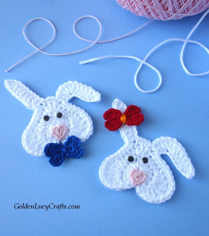 Easter crochet pattern collection, heart bunny applique