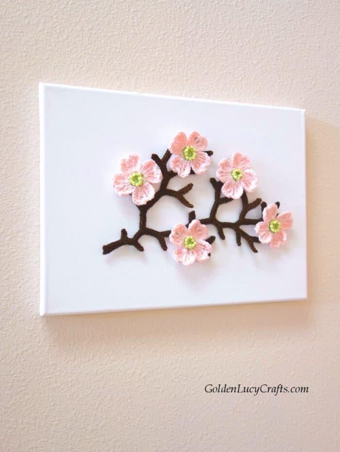 Crochet wall art - Dogwood branch