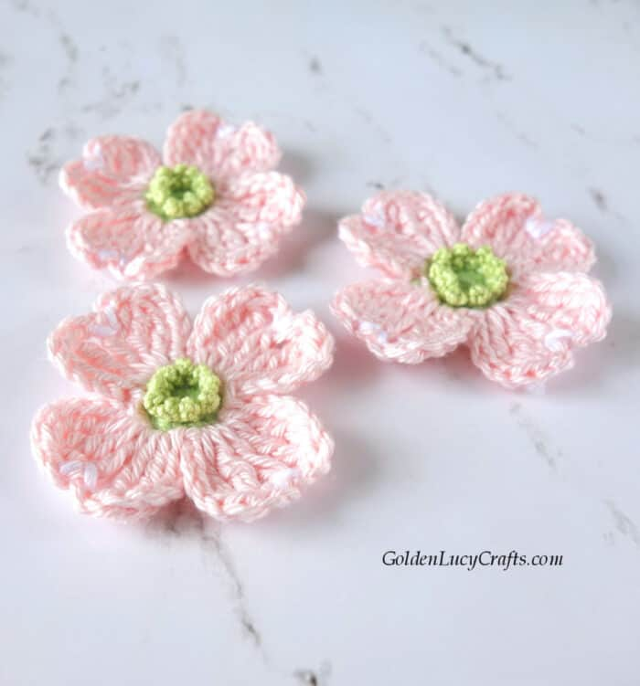 Crochet pink dogwood flowers