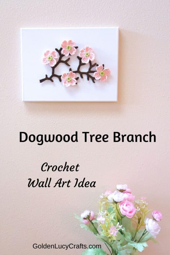Crochet dogwood tree branch, crochet applique, canvas, crochet wall art