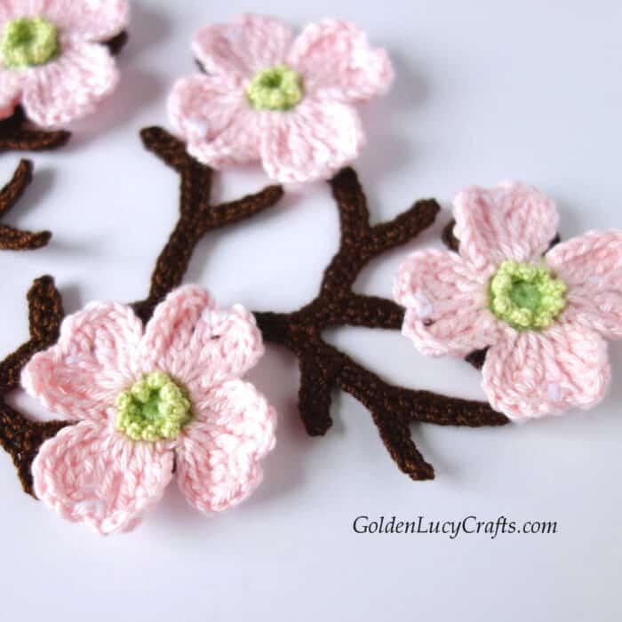 Crochet dogwood branch, flowers, applique