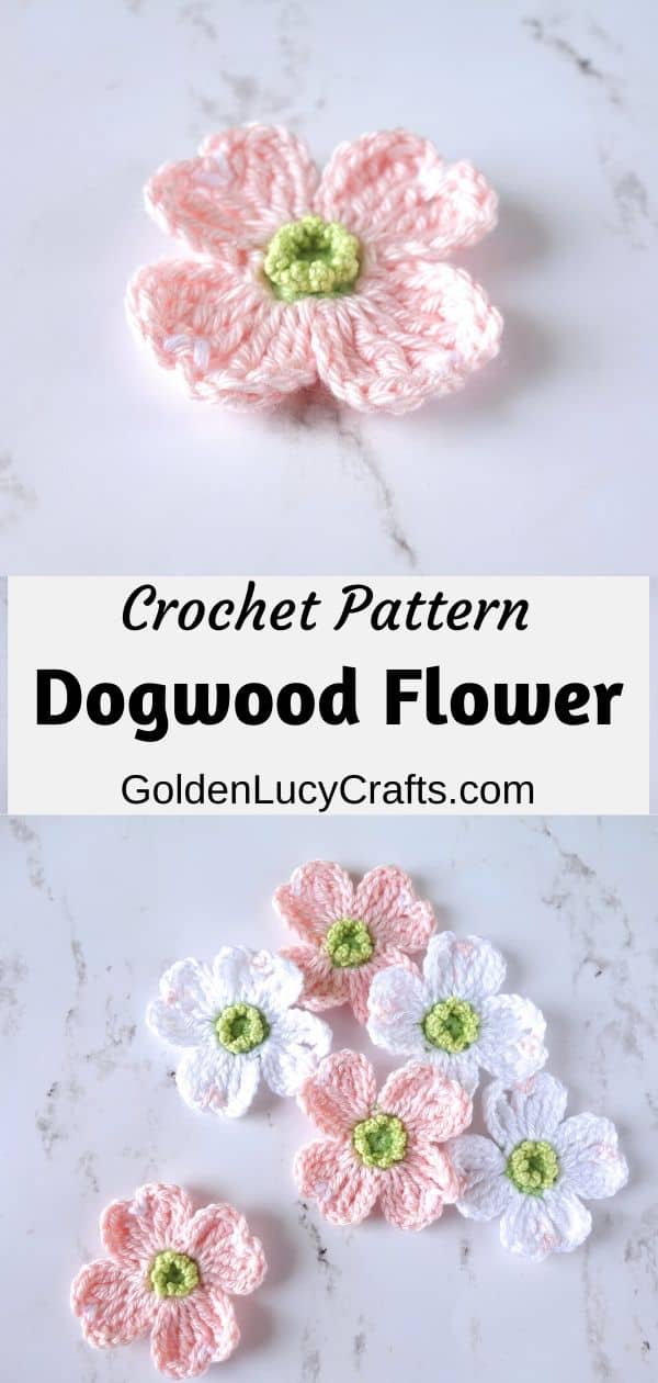 Crochet dogwood flowers, large pink flower on top, six pink and white flowers on the bottom.