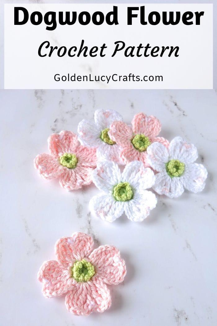 Crochet dogwood flowers