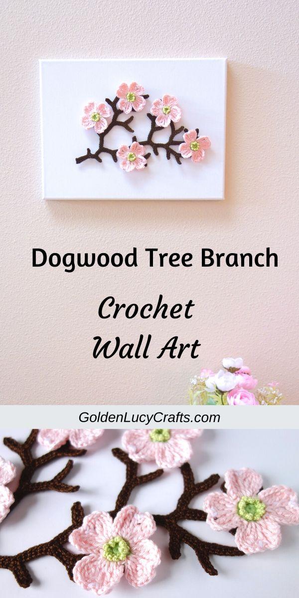 Crochet dogwood tree branch wall art, wall decor