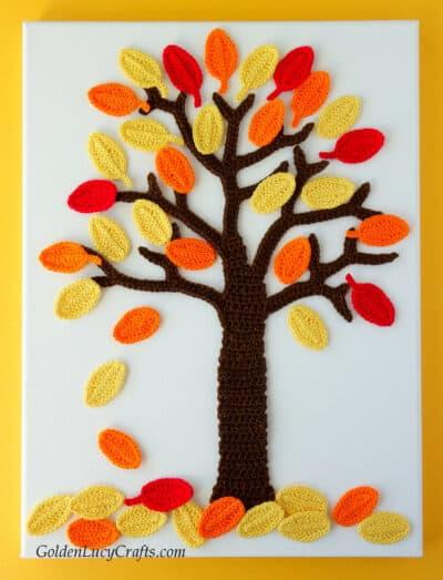 Crochet Fall Tree applique, wall art.