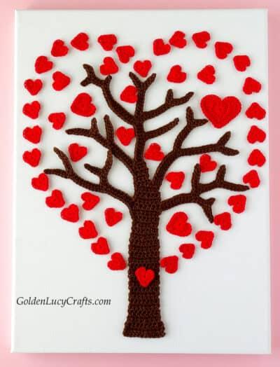 Crochet heart tree applique.