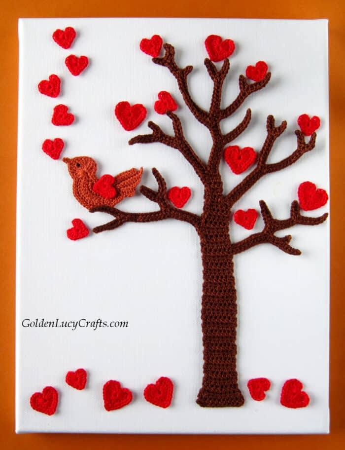 Crochet Valentines's Day tree with hearts and singing love bird
