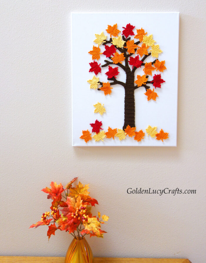 Crochet maple tree, Fall colors, canvas, home decor
