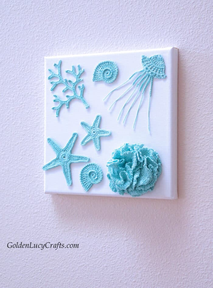Crochet home decoration - sea motifs, canvas