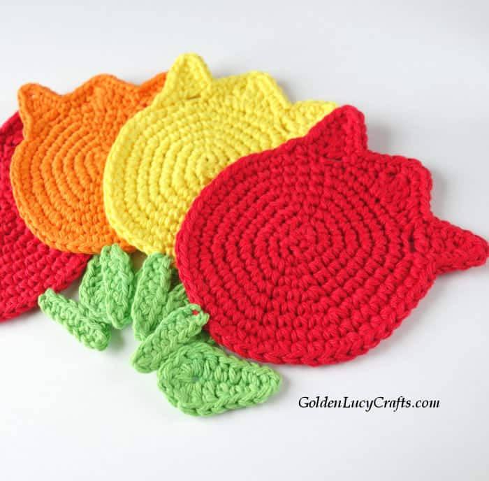 Crochet tulip coasters, handmade DIY gift idea, Mother's Day
