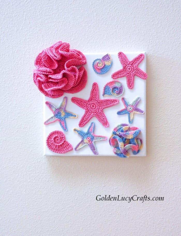 Crochet wall art ocean motifs - sea stars, hyperbolic corals