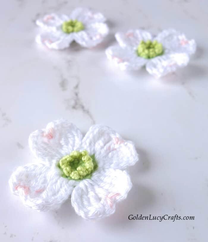 White crochet dogwood flower