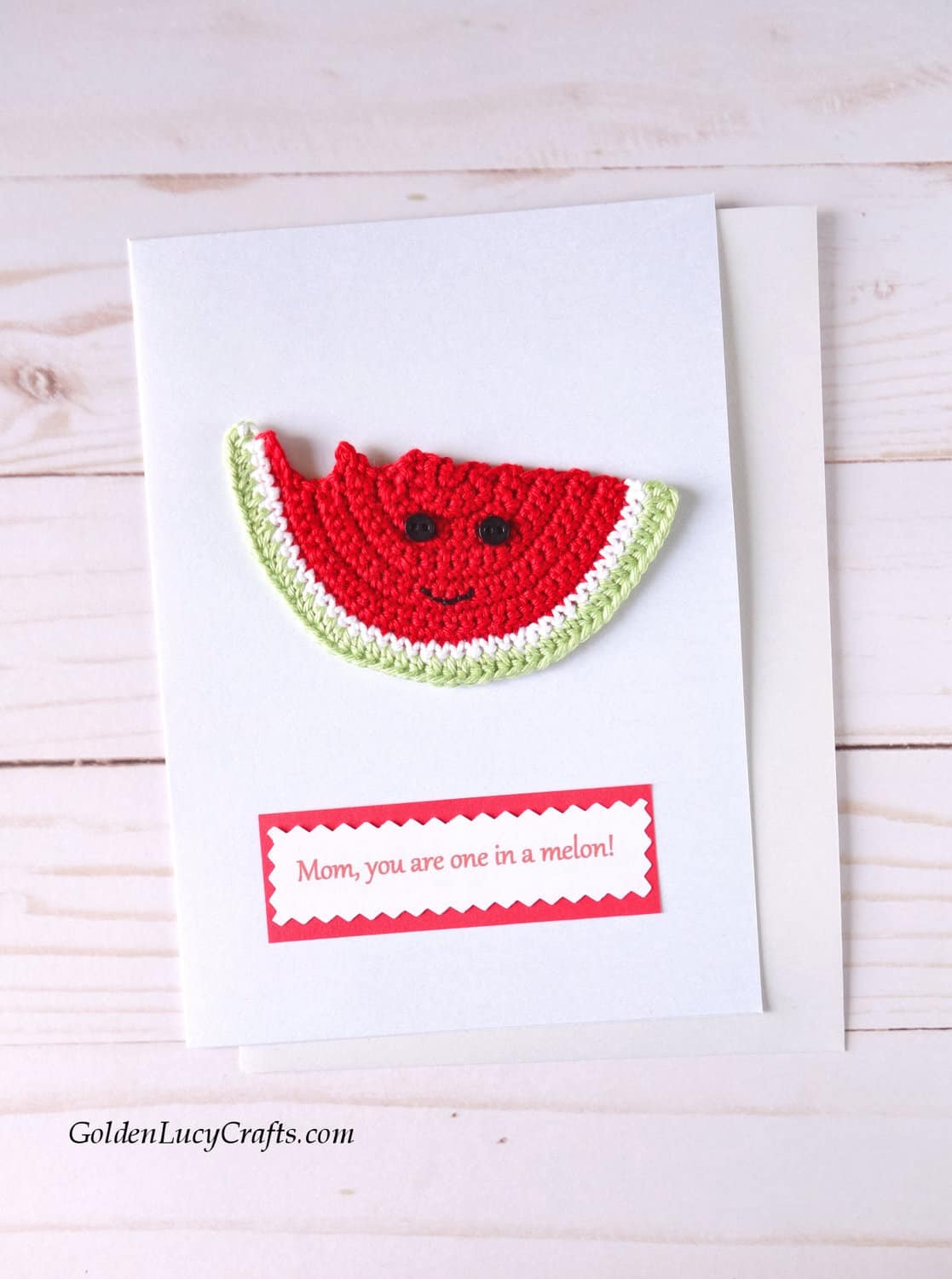Mother's Day card with crochet watermelon slice.