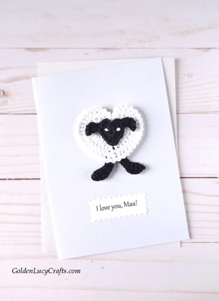 Mother's Day handmade card ideas, I love you Maa!, crochet sheep applique, DIY card