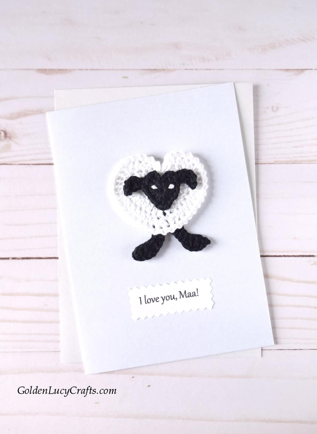 Mother's Day handmade card with crochet sheep applique.