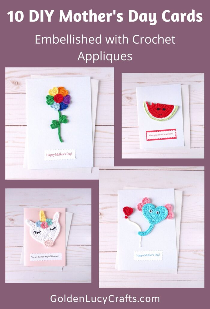 Mother's Day handmade cards ideas, crochet applique, DIY card