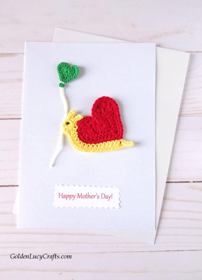 Mother's Day handmade card ideas, crochet applique, DIY card, heart snail applique