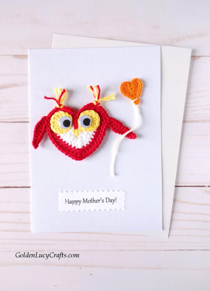 Mother's Day handmade cards ideas, crochet applique, DIY card, owl applique