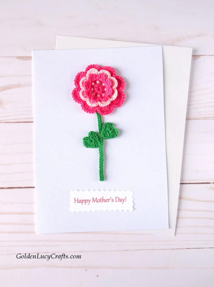 Mother's Day handmade card ideas, crochet flower applique, DIY card, Irish rose card