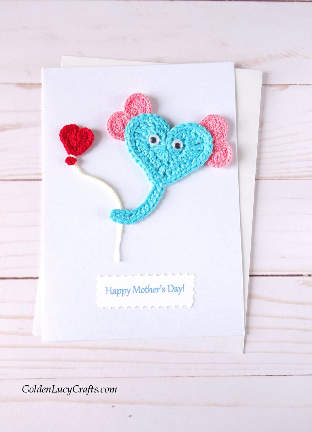 Mother's Day handmade card with crocheted elephant.