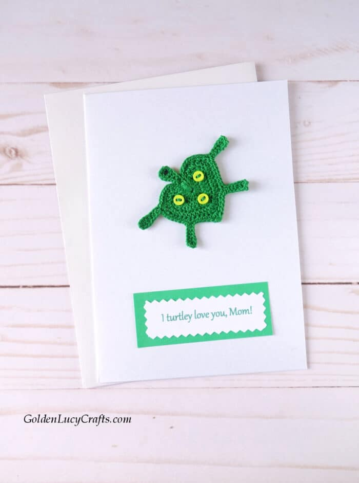 Mother's Day handmade card ideas, crochet turtle applique, DIY card