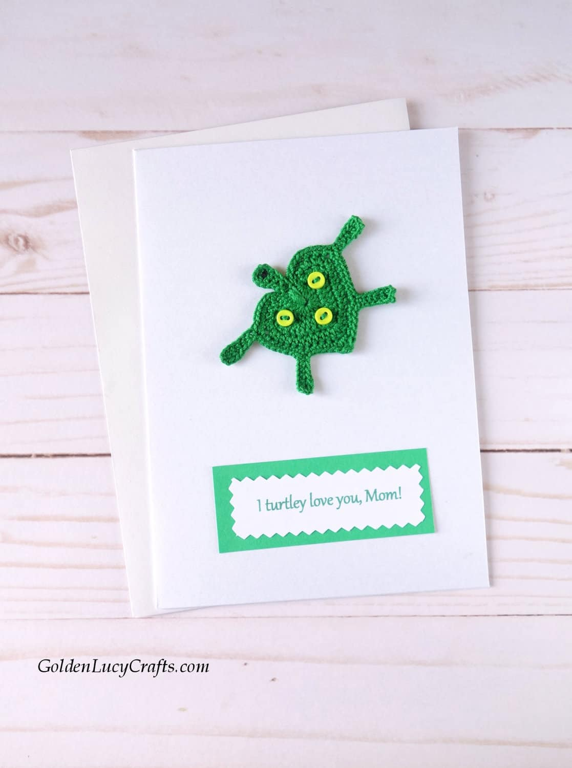 Mother's Day handmade card with crochet turtle applique.