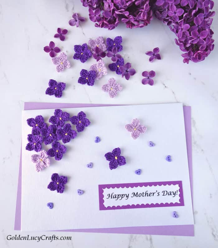 Mother's Day handmade card ideas, lilacs, crochet applique, DIY card