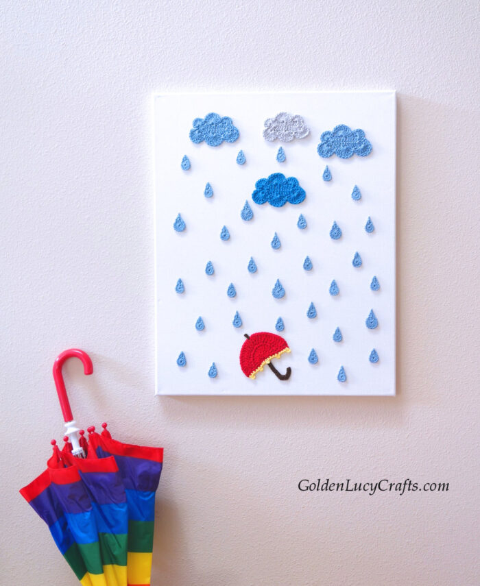 Rainy day crochet wall art, clouds, raindrops and umbrella, Crochet wall decor, appliques, crochet home decor idea