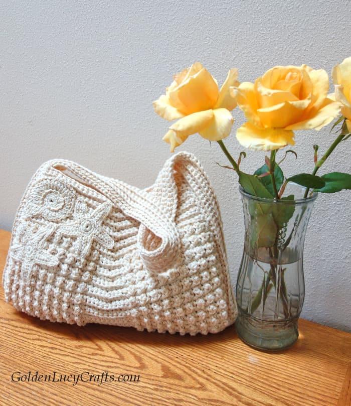 Crochet bag idea, handbag, embellished with appliques