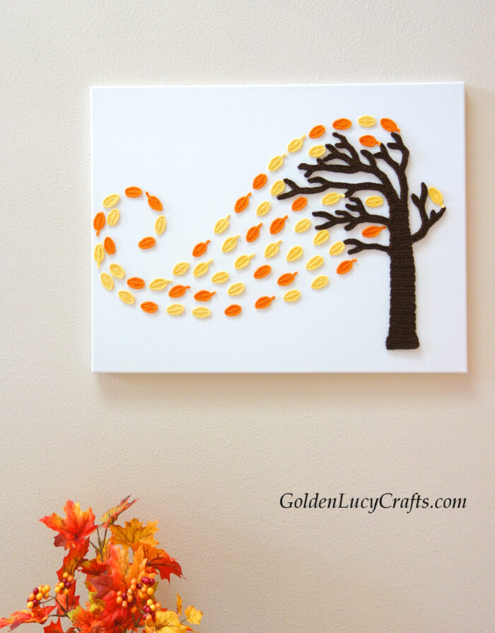 Autumn tree and wind, crochet wall art