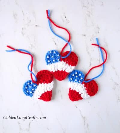 Crochet patriotic hearts